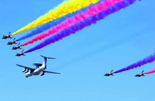 阅兵仪式飞机简笔画