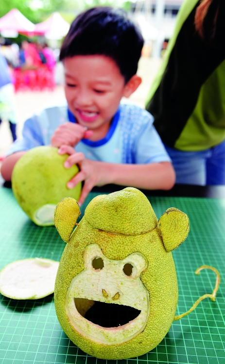 图为一位小朋友在制作动物造型的柚灯. 新华社发(吴景腾 摄)