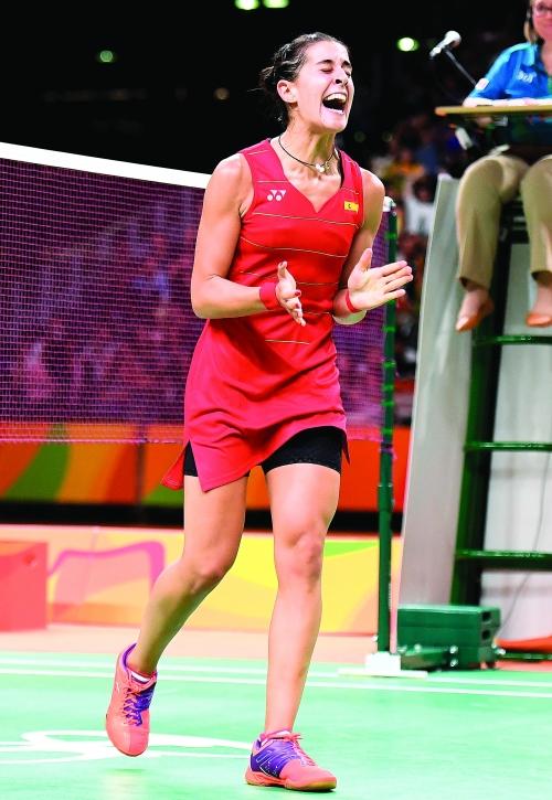 在2016年里约奥运会羽毛球女子单打决赛中
