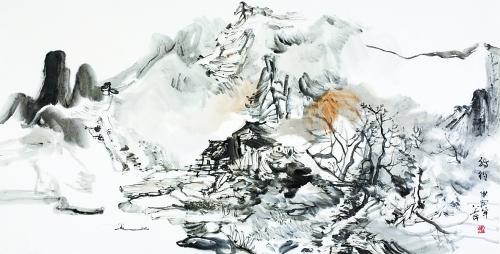 抽象的点线面和具体山川景物并立互补,相映成趣.