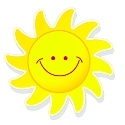 我跑到阳台上,太阳公公正对着我微笑呢.