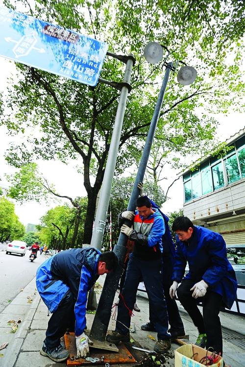 昨天下午,市城市路灯管理处的工作人员正在