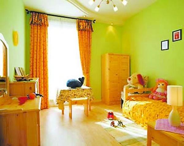 儿童橙色主题卧室