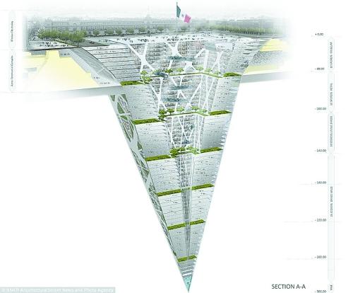 """一座史无前例的300米""""高""""的金字塔形状建筑———&nb"""
