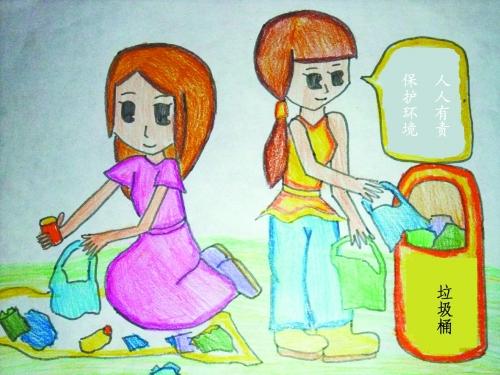 垃圾箱分类儿童画分享展示图片