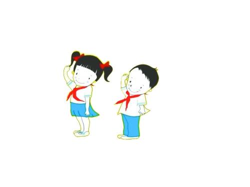 可爱小孩敬礼卡通