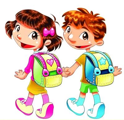 我第一次背书包上学