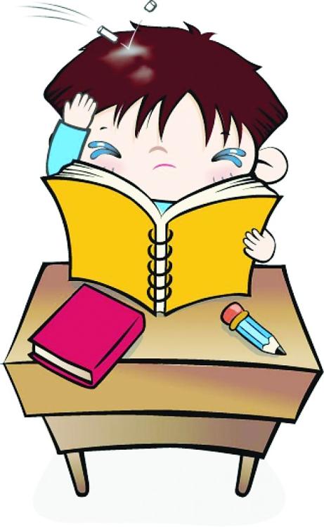 手放头边看书的卡通男孩矢量图; 可爱儿童插画-被老师用粉笔爆头的