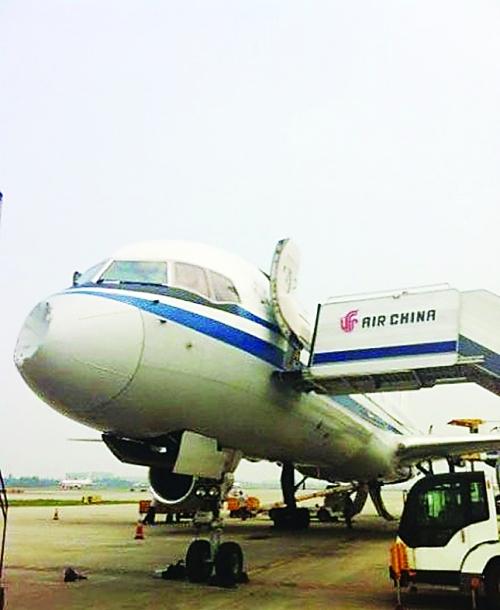国航一航班被鸟撞凹飞机头